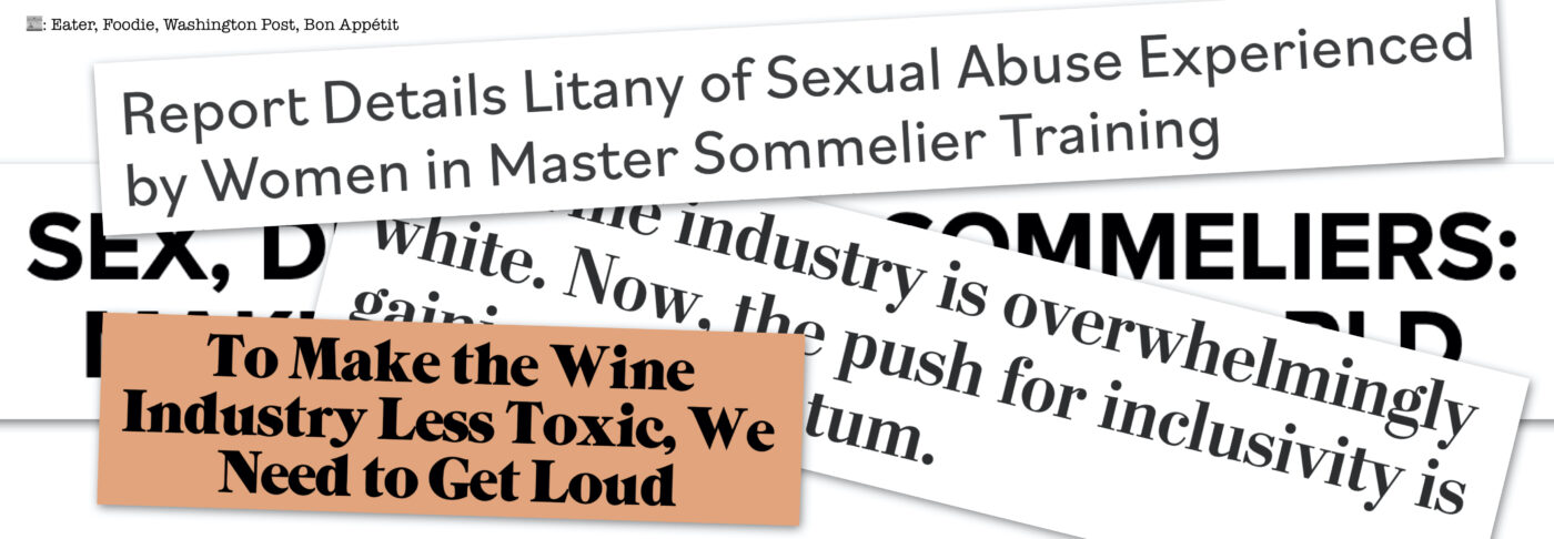 headlines about sommelier sexual assault + racism