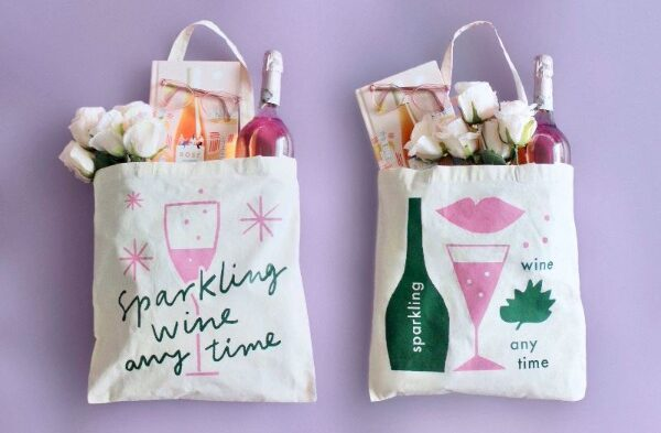 Sparkling Wine Anytime tote bags